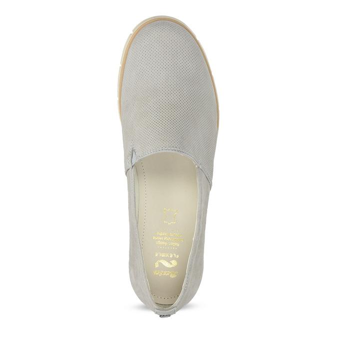 Kožená dámska Slip-on obuv s perforáciou flexible, šedá, 513-9609 - 17