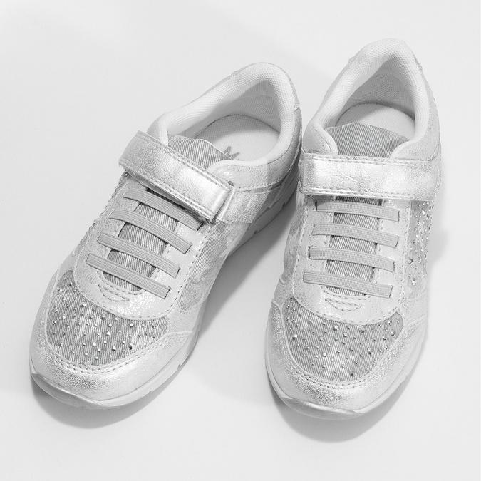 Strieborné dievčenské tenisky s kamienkami mini-b, strieborná, 329-1617 - 16