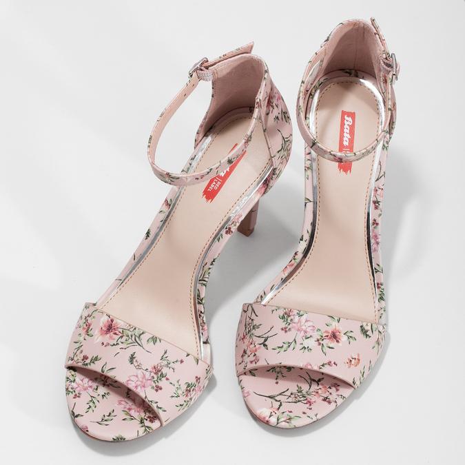 Ružové sandále na ihličkovom podpätku so vzorom bata-red-label, ružová, 761-5626 - 16