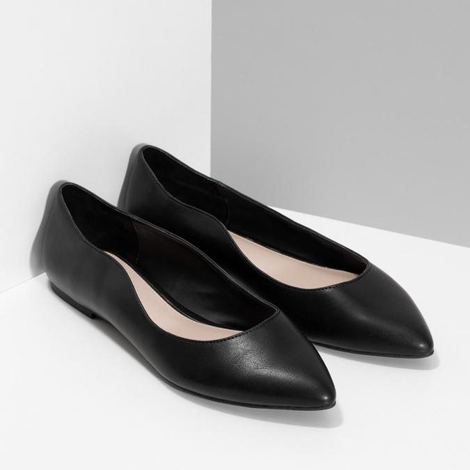 Čierne baleríny do špičky bata-red-label, čierna, 521-6644 - 26