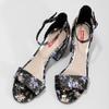 Čierne sandále na podpätku s kvetinovým vzorom bata-red-label, viacfarebné, 661-6615 - 16