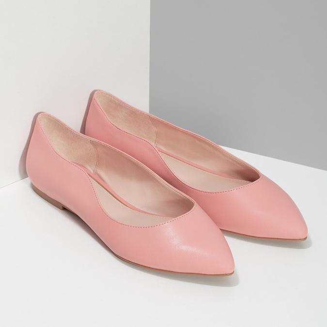 Dámske baleríny do špičky ružové bata-red-label, ružová, 521-5644 - 26