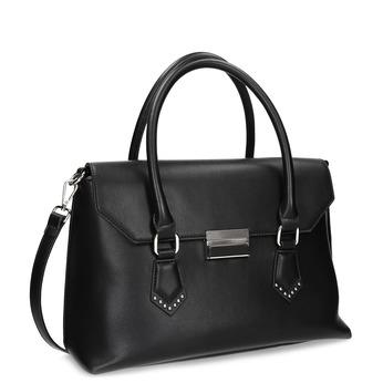 Čierna kabelka s kovovou sponou a cvočkami bata, čierna, 961-6963 - 13