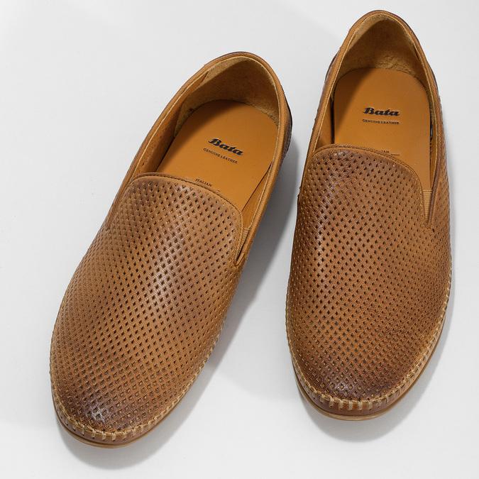 Kožené hnedé pánske Loafers bata, hnedá, 836-3627 - 16