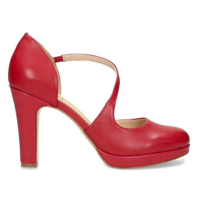 Červené kožené lodičky s asymetrickým remienkom insolia, červená, 724-5662 - 19