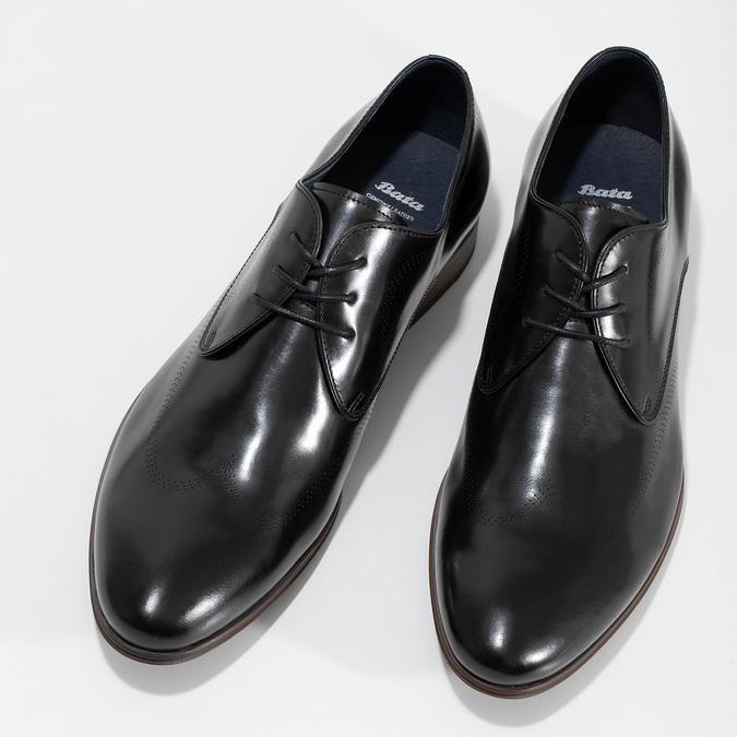Čierne kožené Derby poltopánky s perforáciou bata, čierna, 824-6833 - 16