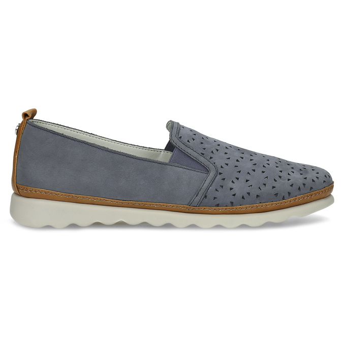 Dámska kožená Slip-on obuv s perforáciou comfit, modrá, 516-9614 - 19