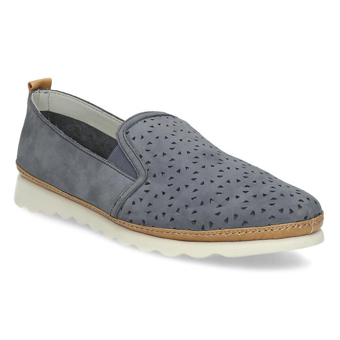 Dámska kožená Slip-on obuv s perforáciou comfit, modrá, 516-9614 - 13