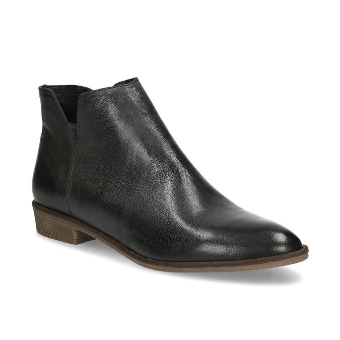 Čierne kožené členkové čižmy bata, čierna, 526-6666 - 13