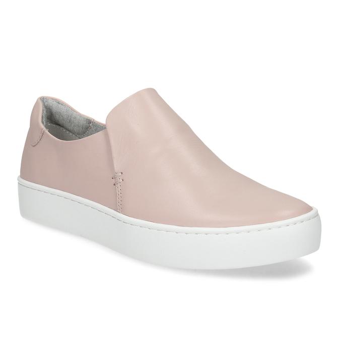 Ružová dámska kožená Slip-on obuv vagabond, ružová, 616-8079 - 13