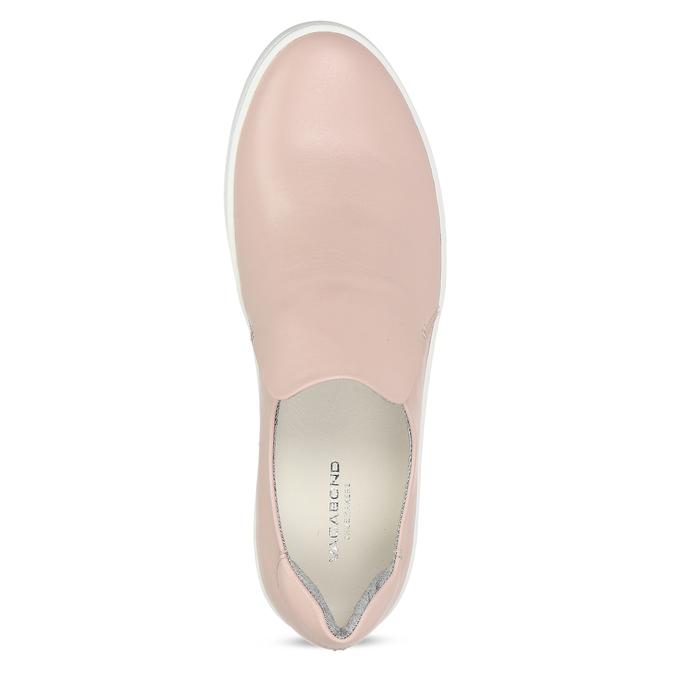 Ružová dámska kožená Slip-on obuv vagabond, ružová, 616-8079 - 17