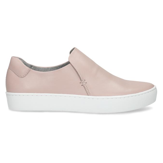 Ružová dámska kožená Slip-on obuv vagabond, ružová, 616-8079 - 19