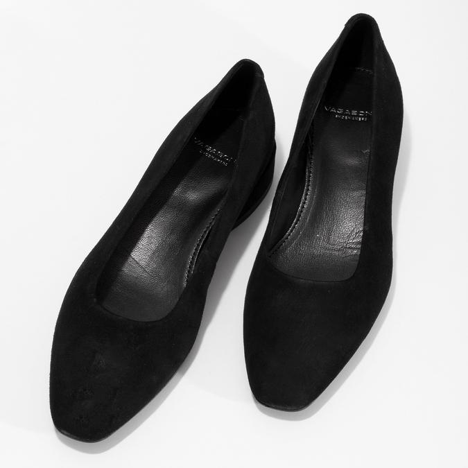 Dámske čierne lodičky z brúsenej kože vagabond, čierna, 623-6097 - 16