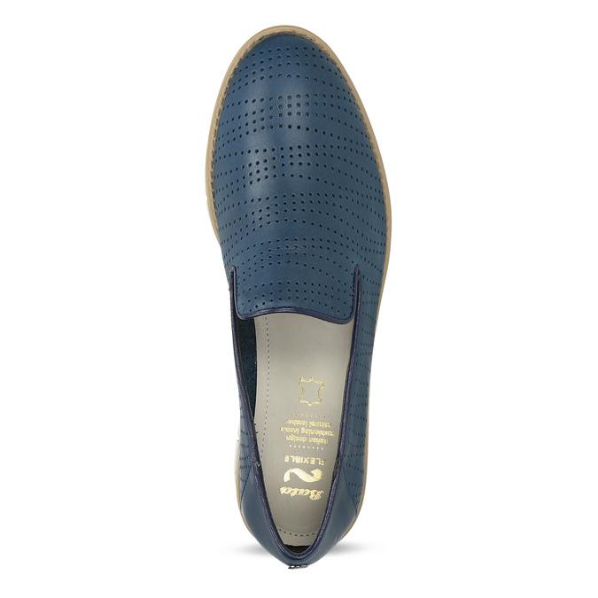 Kožené dámske mokasíny s perforáciou flexible, modrá, 514-9611 - 17