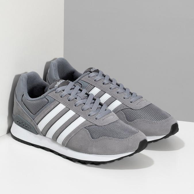 Pánske sivé tenisky kožené adidas, šedá, 803-2102 - 26