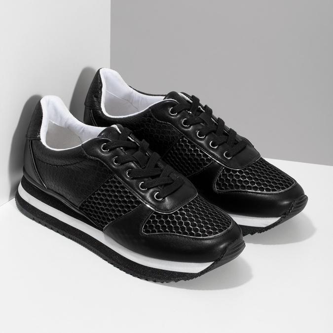 Čierne dámske tenisky s výraznou podrážkou bata-light, čierna, 521-6647 - 26