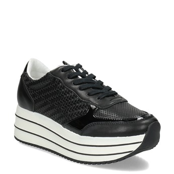 Čierne dámske tenisky na pruhovanej flatforme bata-light, čierna, 621-6656 - 13