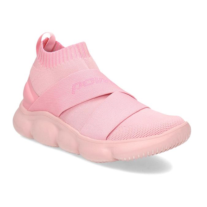 Členkové ružové dámske tenisky z úpletu power, ružová, 509-5237 - 13