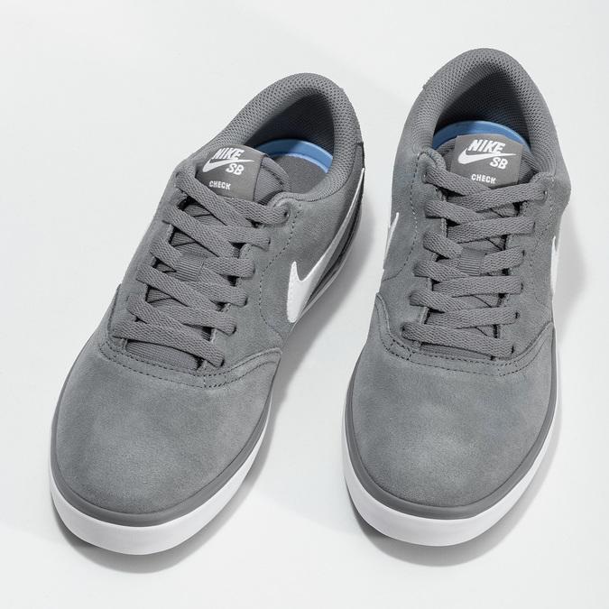 Sivé pánske tenisky z brúsenej kože nike, šedá, 803-2106 - 16