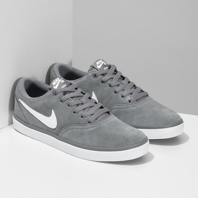 Sivé pánske tenisky z brúsenej kože nike, šedá, 803-2106 - 26