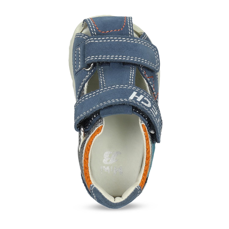 5819d455d2d57 ... Modré kožené detské sandále na suchý zips bubblegummers, modrá,  163-9630 - 17 ...