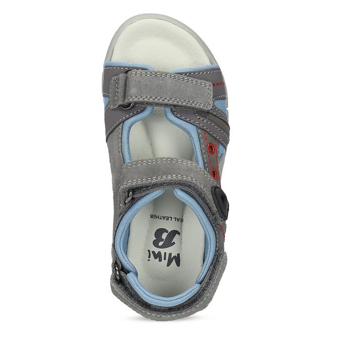 Chlapčenské šedé kožené sandále mini-b, šedá, 263-2605 - 17