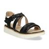 Čierne dámske kožené sandále na svetlej podrážke flexible, čierna, 563-6601 - 13