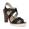 Kožené čierne sandále na prírodnom podpätku flexible, čierna, 763-6631 - 13