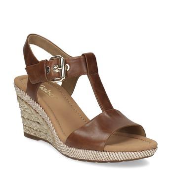 10d8d685033e4 Gabor Biele kožené sandále na prírodnej platforme - Klinový podpätok ...