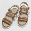 Dámske kožené sandále na svetlej podrážke flexible, hnedá, 563-4601 - 16