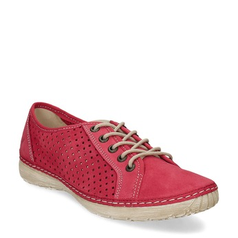 Červené dámske poltopánky s perforáciou weinbrenner, červená, 546-5603 - 13