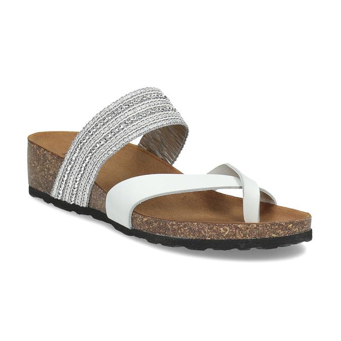 e81868413bfd8 Kožené sandále na kline s kamienkami bata, biela, 666-1600 - 13