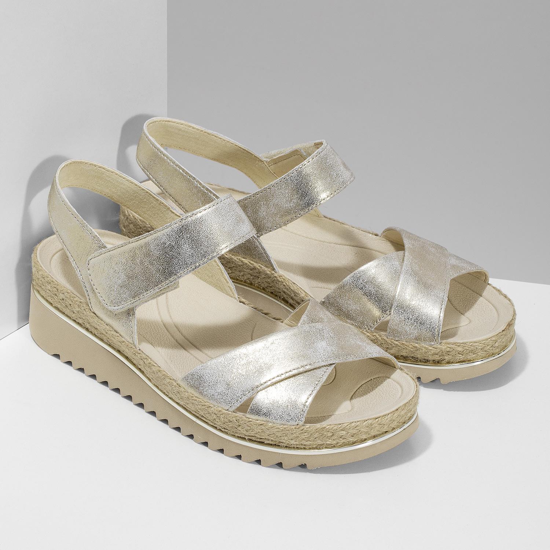 799f947054464 ... Zlaté kožené sandále s prírodnou podrážkou gabor, zlatá, 566-8601 - 26  ...