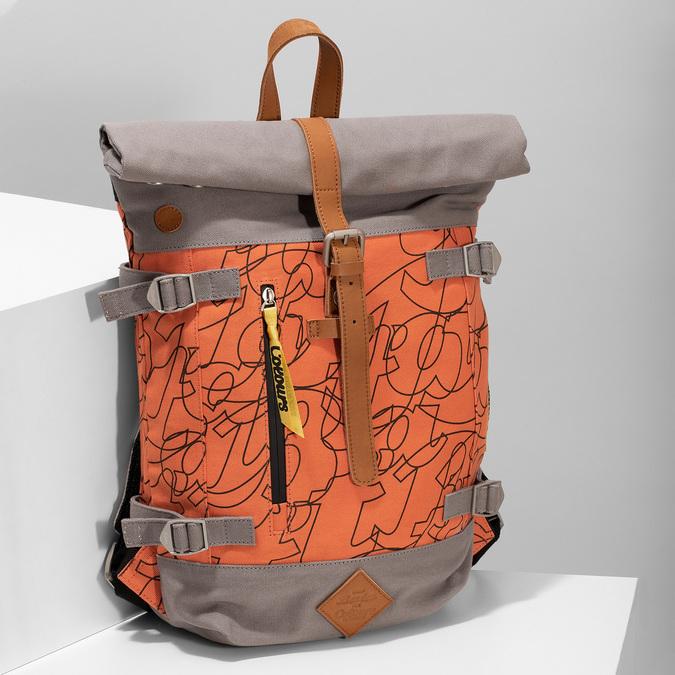 Oranžový unisex batoh so vzorom bata-colours-of-ostrava, oranžová, 969-5705 - 17