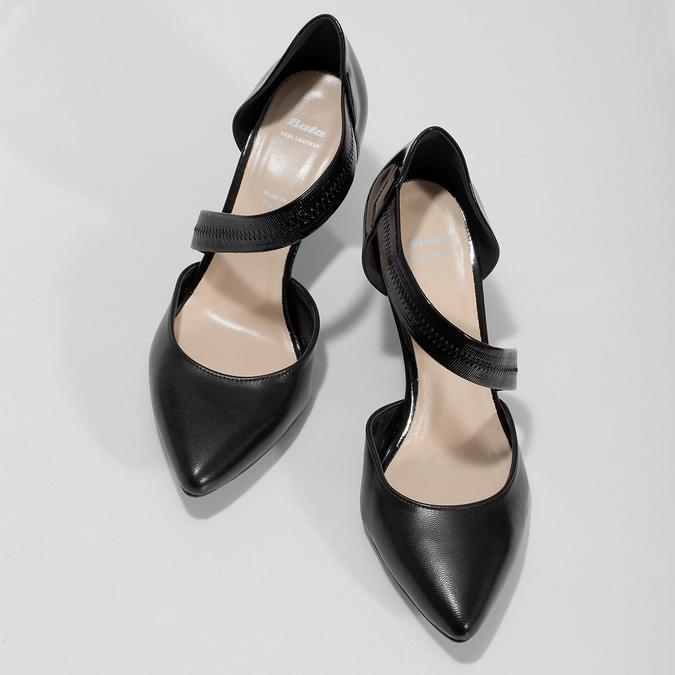 Čierne kožené lodičky s asymetrickým remienkom bata, čierna, 724-6904 - 16