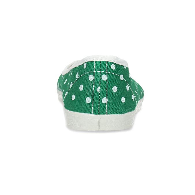 Zelené detské prezuvky s bodkami bata, zelená, 379-7100 - 15