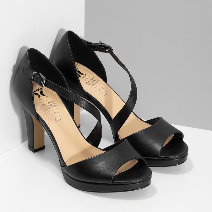 Kožené čierne sandále s asymetrickým remienkom insolia, čierna, 764-6600 - 26