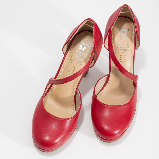 Červené kožené lodičky s asymetrickým remienkom insolia, červená, 724-5662 - 16