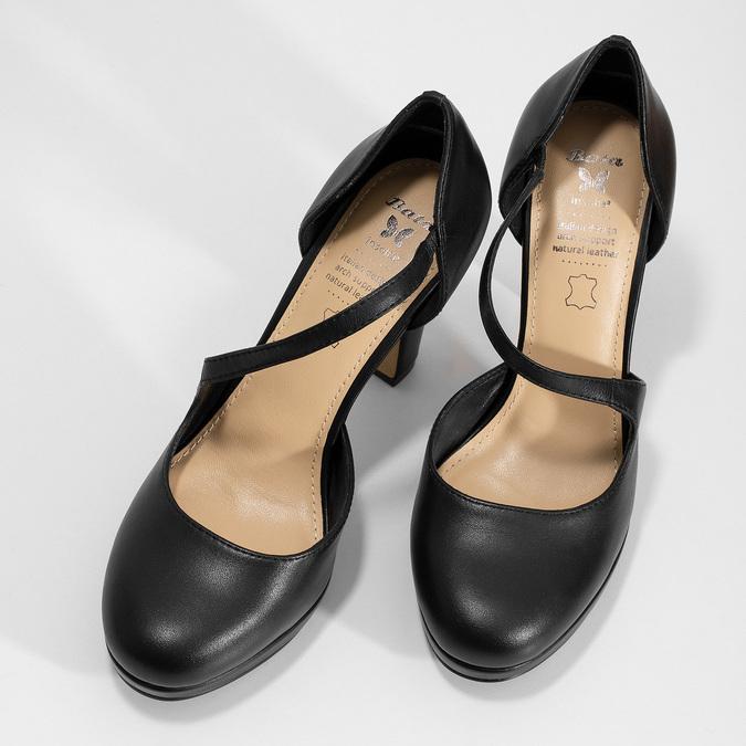 Čierne kožené lodičky s asymetrickým remienkom insolia, čierna, 724-6662 - 16