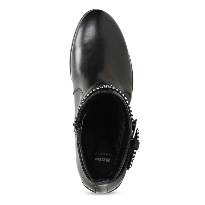 Kožené dámske čižmy s prackami bata, čierna, 594-6665 - 17