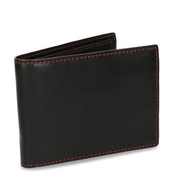 Čierna kožená peňaženka s červeným prešitím bata, čierna, 944-5218 - 13