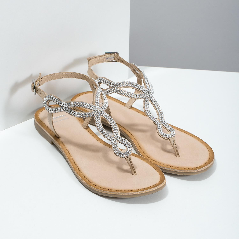 ece38821f68d3 ... Kožené béžové dámske sandále s kamienkami bata, béžová, 566-8640 - 26  ...