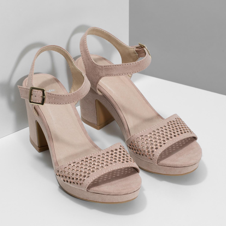 64e3d4620a653 ... Sandále na masívnom podpätku s kamienkami insolia, ružová, 669-8624 -  26 ...