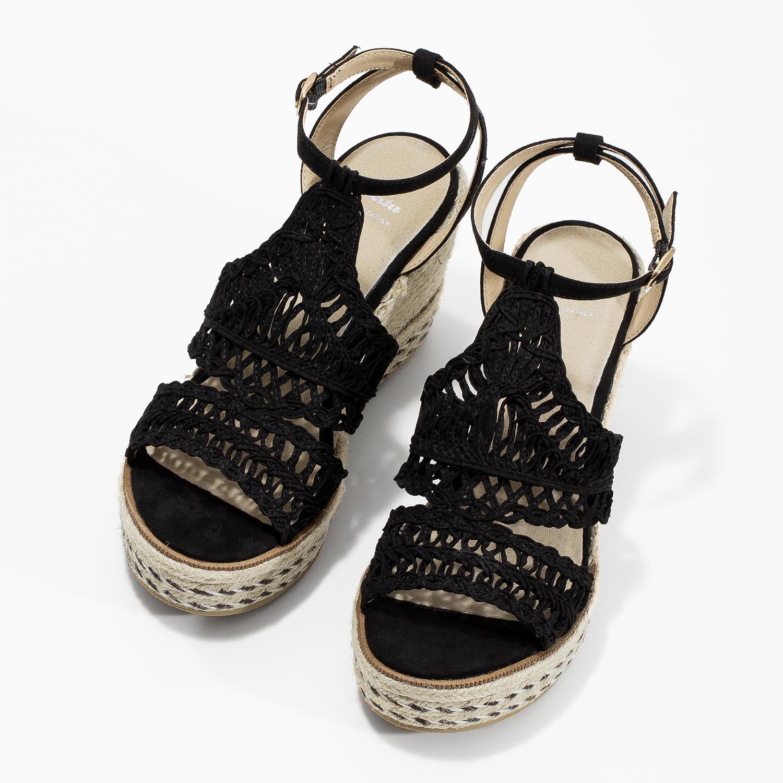 1fa9299717521 ... Čierne prepletané sandále na platforme bata, čierna, 759-6633 - 16 ...