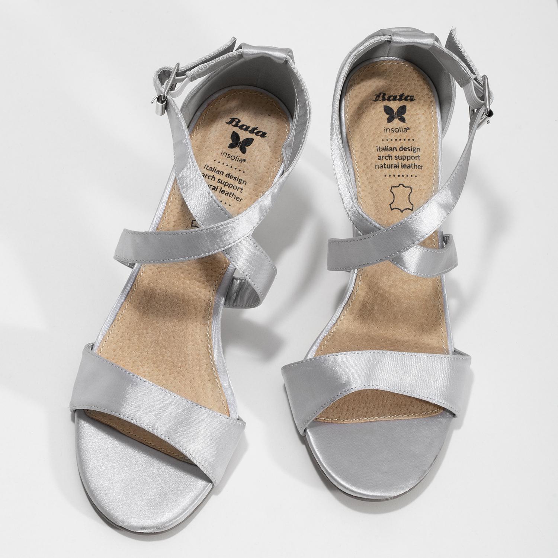 af05973353 Insolia Strieborné sandále na ihličkovom podpätku - Sandále