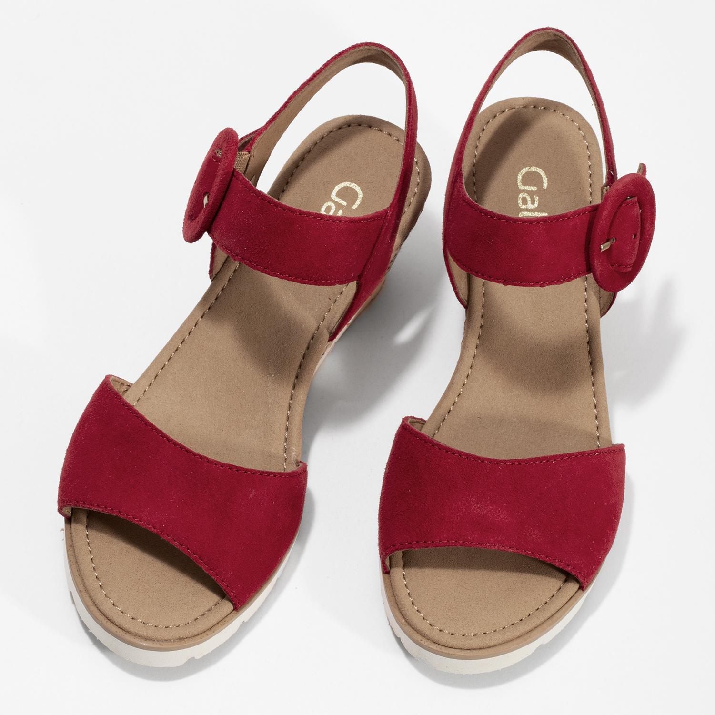 a113b51c3e292 ... Kožené červené sandále na prírodnej platforme gabor, červená, 663-5606  - 16 ...
